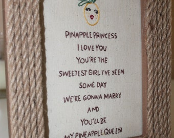 """Pineapple Princess Handmade Embroidered 5x7"""" Unique Gift with a Retro Feel"""