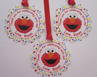 12 Elmo Favor Thank You Tags