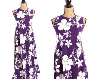 1960s Vibrant Bright Purple Hawaiian Tropical Print Full Length Dress - M