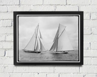 FRAMED Sailing Photography Black and White Americas Cup Vintage Framed Art, Sailing Art, Office Art, Living Room Art, Historical Print (107)