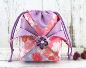 Kimono Drawstring Bag,Sakura on Pink,Handmade  Lilac Sukura,Oriental Bags,Quilted Purse,Kimono Purse,Japanese Bag,Pouch,CoinPouch No.L18