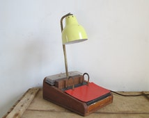 Vintage workshop Parker Gooseneck enamel metal and Wood table lamp 60s  //  desk light // Guariche / Adnet
