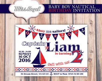 Custom nautical birthday invitation. Nautical Party. Baby boy birthday party printable invite, MissAngelClipArt. Navy, Red, sailboat