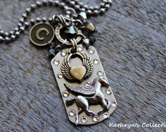 Horse Angel Necklace, Horse Memorial Keepsake, Horse Jewelry, Horse Sympathy