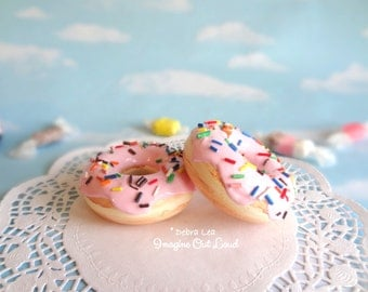 Fake Donut Doughnut Glazed Pink Frosting with Sprinkles