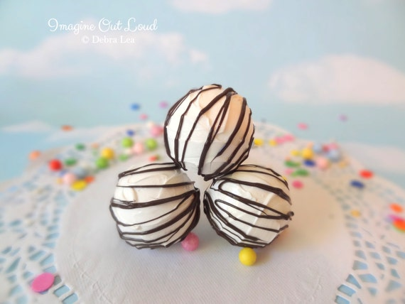 FAUX Fake Truffles White Chocolate with Dark Chocolate Drizzle