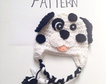 PATTERN Crochet Dalmatian hat, All Sizes, Newborn to Adult