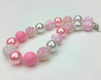 Bubblegum Necklace, Pink Necklace,  pink and white baby necklace,  children's necklace, chunky bead necklace