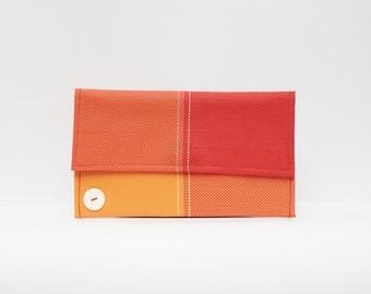 Red Clutch, Fashion Clutch, Vinyl Bag, Minimalist Bag, Red Orange Bag, Vinyl Purse, Red Clutch Purse, Evening Clutch, Envelope clutch
