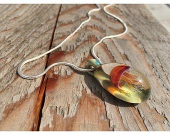 Ocean Inspired Handmade Art Glass Jellyfish Necklace