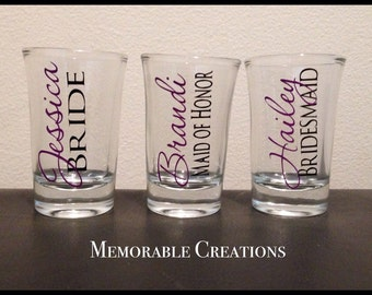FAST SHIPPING-Personalized Wedding Shot Glasses for Bridal Party, Bride, Groom, Bridesmaids, Groomsman, Bachelor/ette Party