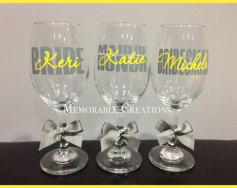 FAST SHIPPING-Personalized Wedding Wine Glasses for Bride, Bridesmaids, Bridal Party