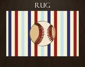 Items Similar To Baseball Area Rug Striped Area Rug