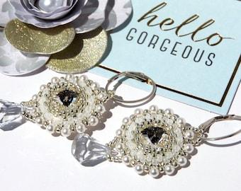 Fine Jewellery Marie Antoinette Swarovski Crystal Rivoli Beaded Bridal Earrings