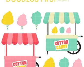 Cotton Candy Cart Digital Clip Art for Scrapbooking Card Making Cupcake Toppers Paper Crafts