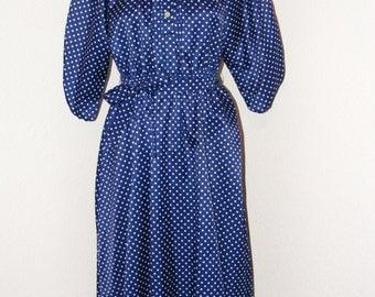 Vintage 1970s Navy Blue Polka Dot Dress by Shelby Place in size 6