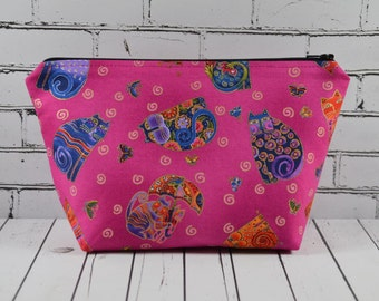 Cat Makeup Bag, Cats Make Up Bag, Cosmetic Bag, Cat Toiletry Bag, Zip Pouch, Cat and Mouse.