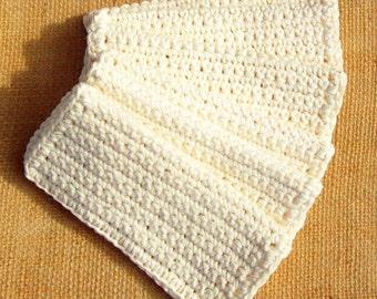 Six Crochet Ecru Wash Cloths / Dish Cloths / Cleaning Cloths 6 inches square