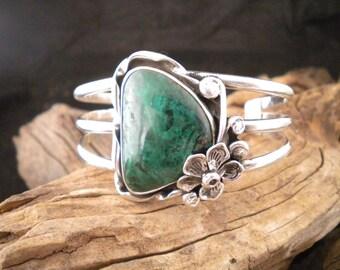 Large Chyrsocolla & Sterling Silver Bracelet Cuff Bracelet