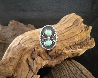 Size 9.75  2-Stone Turquoise Ring Signed Piece Handmade
