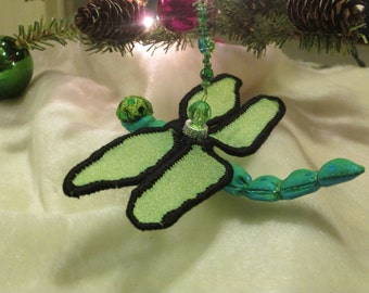 Dragonfly Ornament- Housewarming Gift - Bridesmaid Gift - Birthday Gift - Christmas - Green with Black