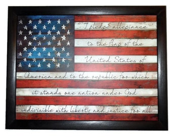 American Flag, The Pledge of Allegiance, Patriotic, Home Decor,  Art Print, Wall Hanging, Handmade, 27 X 21, Custom Wood Frame, Made in USA