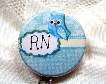 darling little id badge holder with owl for nurse,blue id badge reel for nurse,name badge for RN/LPN/ARNP,will customize for you