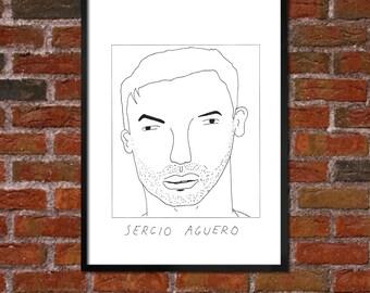 Badly Drawn Sergio Aguero - Manchester City FC Football Poster