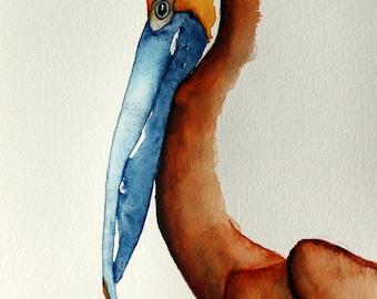 original bird painting bird art brown Pelican watercolor painting by Betty Moore