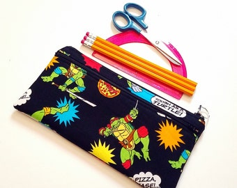 FINALPRICE CLEARANCE Double Zipper Pencil Case / Ninja Turtles