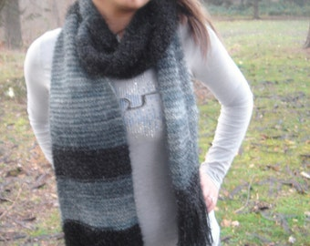 Black Hand Knit Scarf, Extra Long Scarf, Lace Knit Scarf, Grey Slate Blue