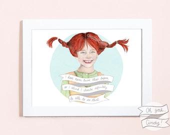 Pippi Longstocking illustration portrait PRINT Langstrumpf