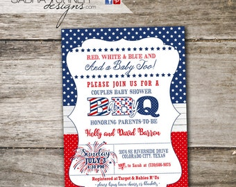 Fourth of July Baby-Q • Fourth of July Baby Shower Invitation • 4th of July Baby-Q • 4th of July Baby Shower Invitation • Baby Shower BBQ