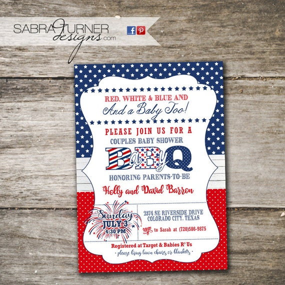 May The Fourth Be With You Baby Shower: Fourth Of July Baby-Q Fourth Of July Baby Shower Invitation