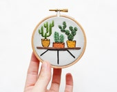 Mini Cactus Trio - 3 inch Hand Stitched Embroidery Hoop Art