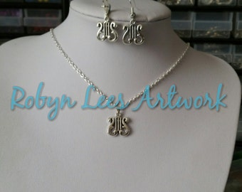 Small Silver Lyre Harp Musical Instrument Necklace and or Earrings Set on Silver Chain, Earring Hooks or Scalloped Leverbacks, Music