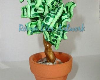 Small Money Tree Sculpture Ornament, Clay & Acrylic Paint Art Artwork and Terracotta Pot