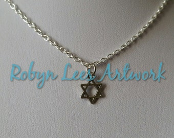 Tiny Silver Star of David Charm Necklace on Silver Crossed Chain, Jewish Religion, Judaism