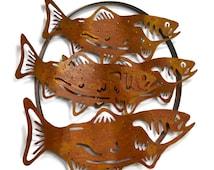 Salmon Run Metal Wall Sculpture WS1809