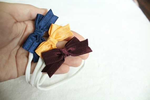 Simple Fall Bow Headband :  Set of 3 Essential Elastic Bow in 3 colors. Simple Bow on Nylon Elastic Infant and Toddlers Girls Headband