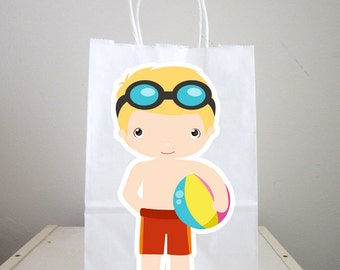 Pool Party Goody Bags, Pool Party Favor Bags, Pool Party Favor, Goody, Gift Bags - Boys Pool Party