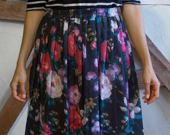 Vintage Black Floral Sheer Chiffon Midi skirt