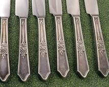 Set 6 ROSEDALE Art Deco Dinner Knives Vintage 1933 R&B Manor Plate IS Silverplate Flatware Silverware Silver Plate