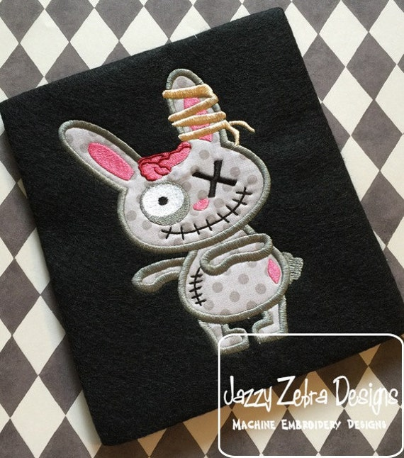 Zombie Bunny Appliqué Embroidery Design - zombie applique design - bunny applique design - halloween appliqué design - rabbit applique
