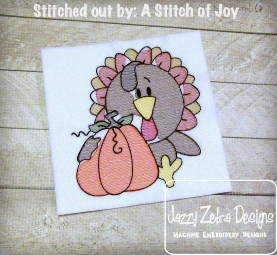 Turkey 92 Sketch Embroidery Design - Thanksgiving Sketch Embroidery Design - Turkey Sketch Embroidery Design