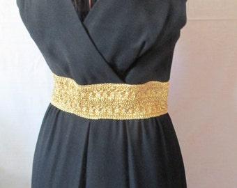 60s Black Evening Dress  Gold Wide Belt Dress  60s 70s Maxi dress 70s Evening Dress Black Long Evening Dresses Mad men Dress
