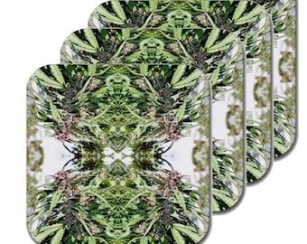 Cannabis Coasters: Four Pack Marijuana Coasters in Williams Wonder Marijuana Print, Coasters, Table Coasters, Ganja Coasters- MADE TO ORDER
