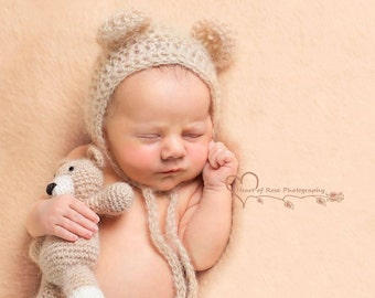 Newborn Bear Hat and Teddy Bear Set - Newborn Photo Prop, Bear Bonnet, Crochet Teddy Bear, Tiny Teddy Bear, Knit bear set, Baby Bear set,UK