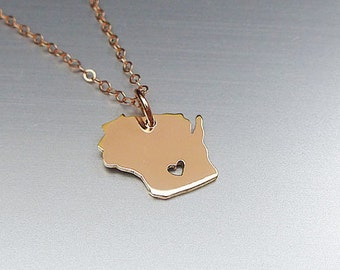 Tiny 14K Rose Gold Filled Wisconsin Necklace - Wisconsin State Necklace - Custom Heart - Wisconsin Map Necklace