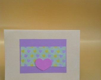 Handmade Greetings Card - purple & cream love heart design